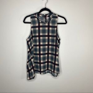 ASTR Fall Plaid High Neck Tank Blouse